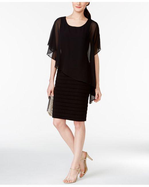 Betsy & Adam | Black Chiffon Capelet Sheath Dress | Lyst