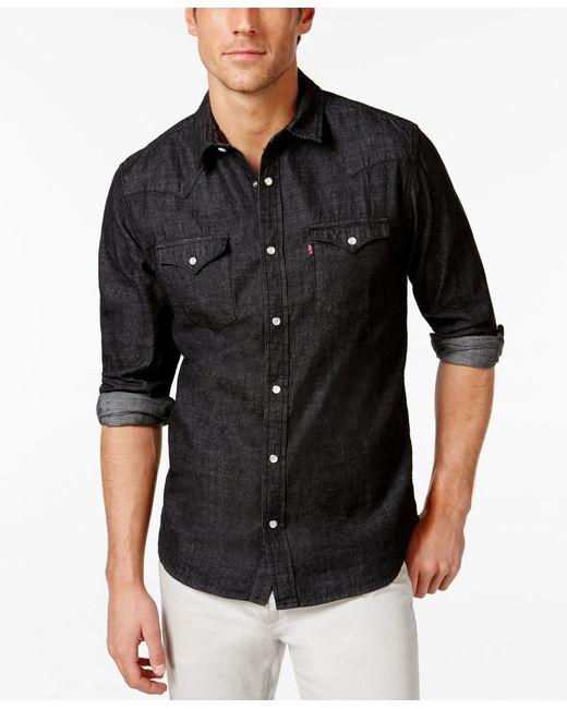 Levi 39 s men 39 s standard barstow western long sleeve denim for Mens black levi shirt