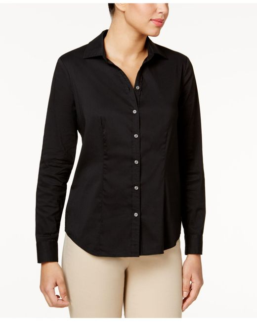 Charter Club   Black Solid Button Down Shirt   Lyst