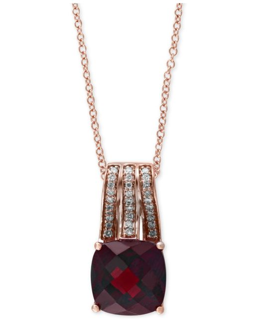 Effy Collection | Metallic Rhodolite Garnet (3-1/2 Ct. T.w.) And Diamond (1/10 Ct. T.w.) Pendant Necklace In 14k Rose Gold | Lyst