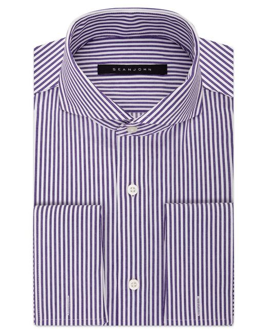 Sean john men 39 s purple stripe french cuff dress shirt in for Purple french cuff dress shirt