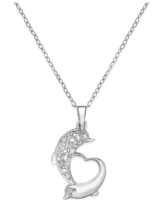 Compare Prices On 1ct Diamond Pendant Online Shopping Buy: Macy's Diamond Dolphin Heart Pendant Necklace (1/10 Ct. T