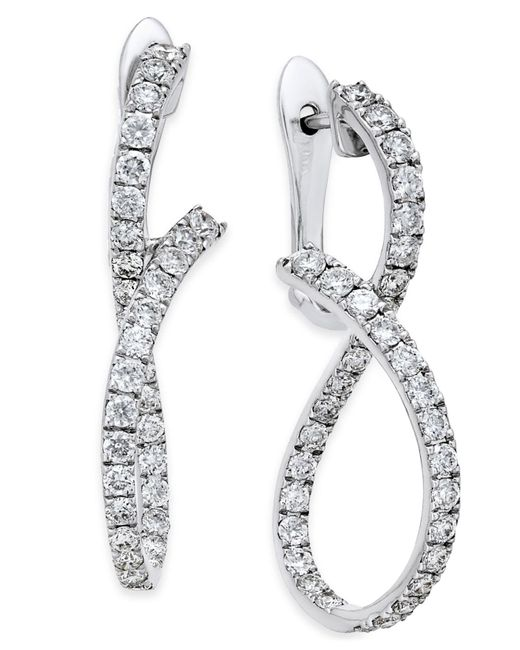 Macy's - Diamond Infinity Drop Earrings (1-1/3 Ct. T.w.) In 14k White Gold - Lyst