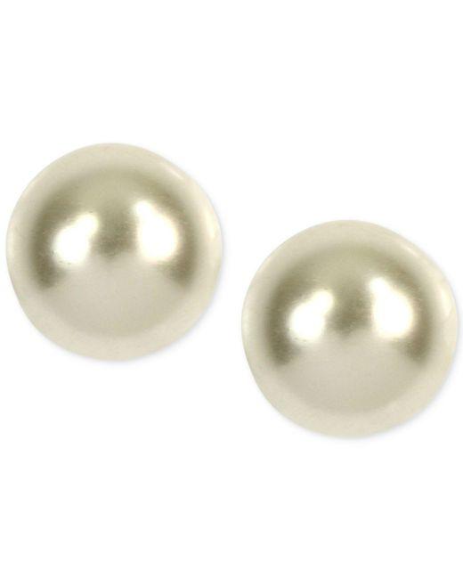 Anne Klein | Metallic Gold-tone Imitation Pearl Stud Earrings | Lyst