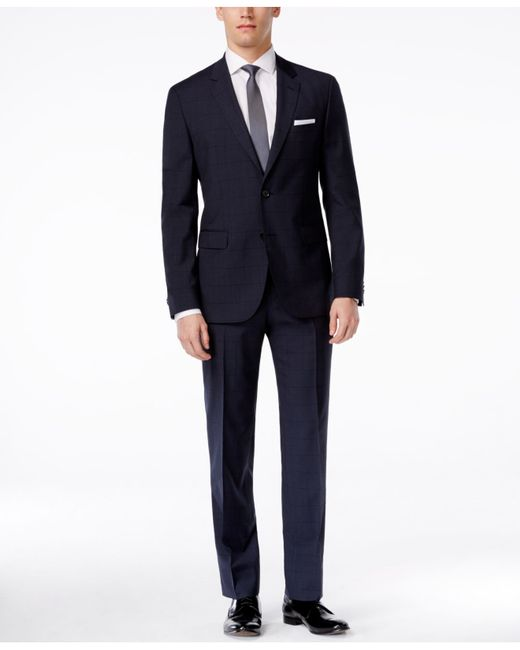 hugo by s slim fit navy plaid suit in blue for navy lyst