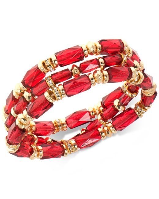 Nine West | Gold-tone 3-pc. Set Pavé & Red Bead Stretch Bracelets | Lyst