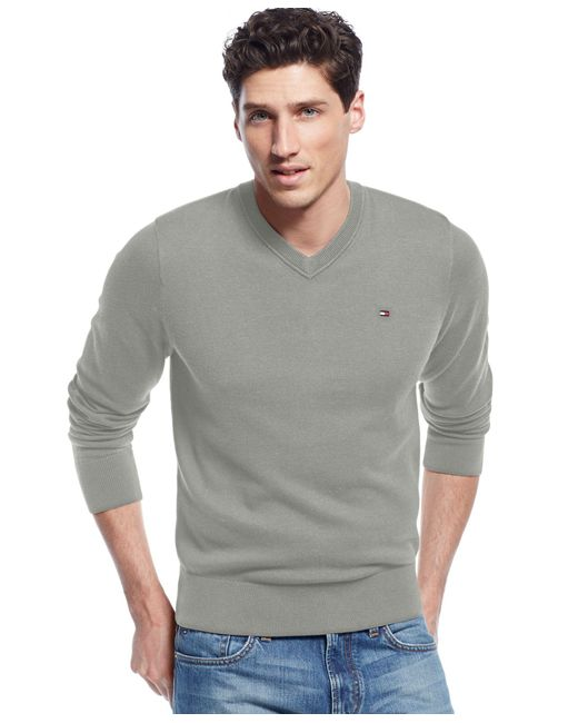 Tommy Hilfiger | Gray Men's Signature Solid V-neck Sweater for Men | Lyst