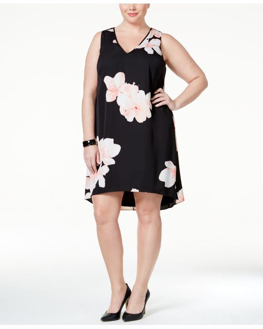Calvin Klein Plus Size Floral Print Shift Dress In