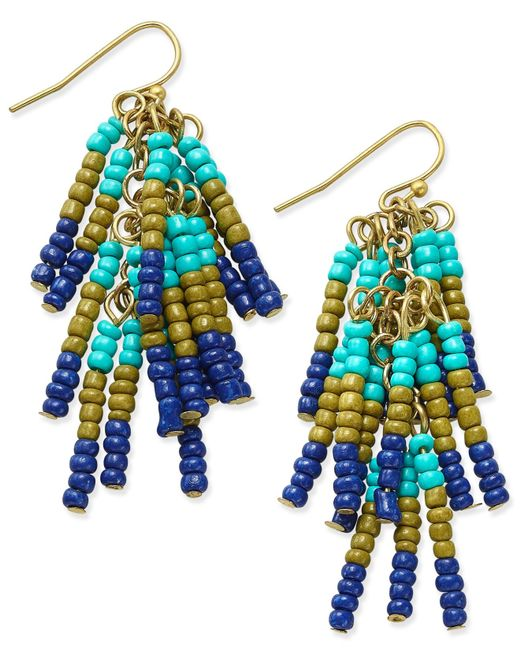 Macy's | Blue Gold-tone Beaded Fringe Chandelier Earrings | Lyst