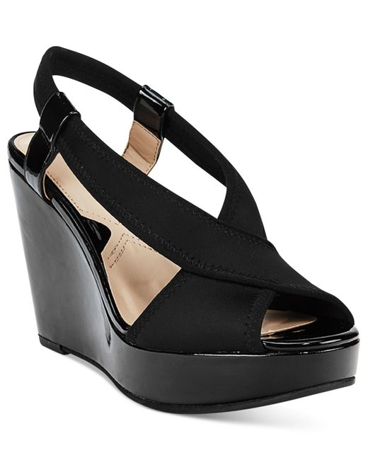 Adrienne Vittadini Catri Platform Wedge Sandals In Black