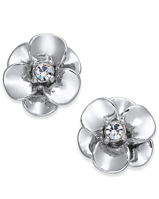 Kate Spade - Metallic Crystal Flower Stud Earrings - Lyst