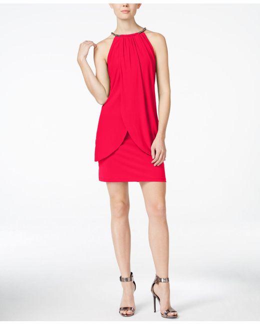 Jessica Simpson | Red Sleeveless Embellished Sheath Dress | Lyst