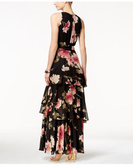 Tahari Tiered Floral Print Halter Dress In Black Black
