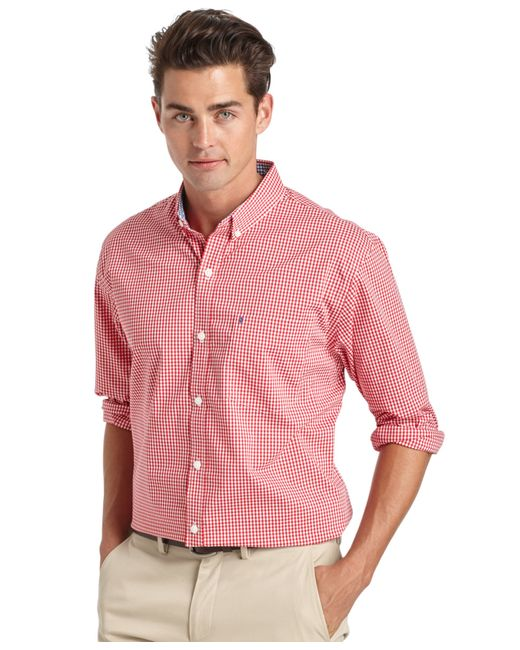 Izod Big And Tall Gingham Long Sleeve Shirt In Red For Men