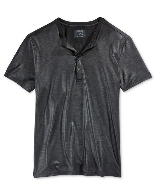 Guess Men 39 S Short Sleeve Mason Shine Henley Shirt In Black