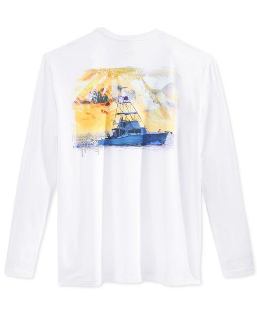 Guy harvey men 39 s graphic print long sleeve performance sun for Custom sun protection shirts