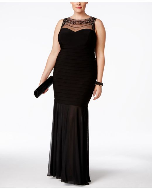 xscape plus size beaded illusion mermaid gown in black lyst