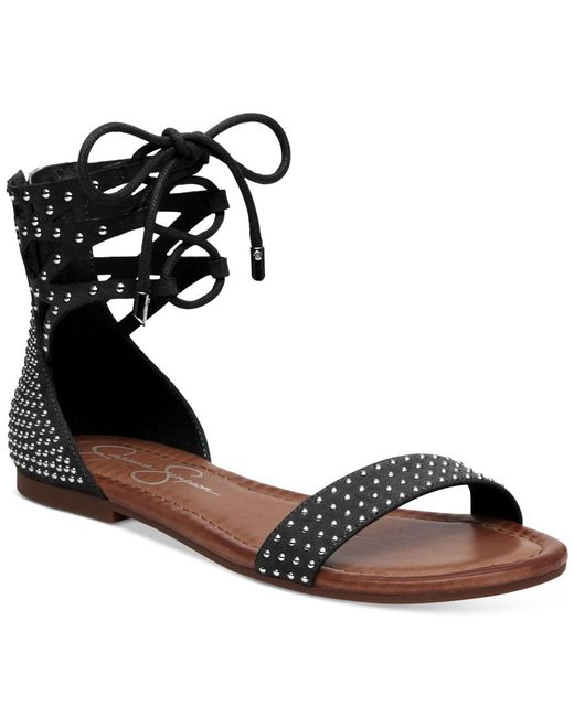 Jessica Simpson Kaduna Two Piece Lace Up Flat Sandals In