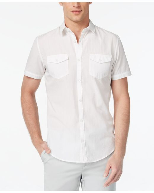 Calvin klein men 39 s solid seersucker short sleeve shirt in for Mens seersucker shirts on sale