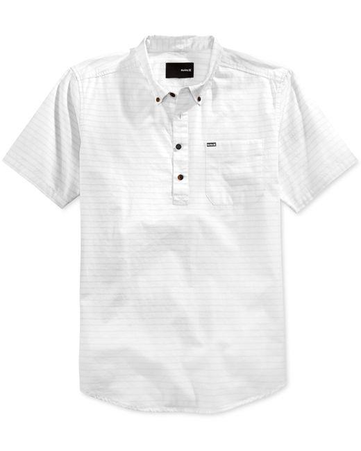 Hurley men 39 s half closure button down short sleeve shirt for White short sleeve button down shirts for men