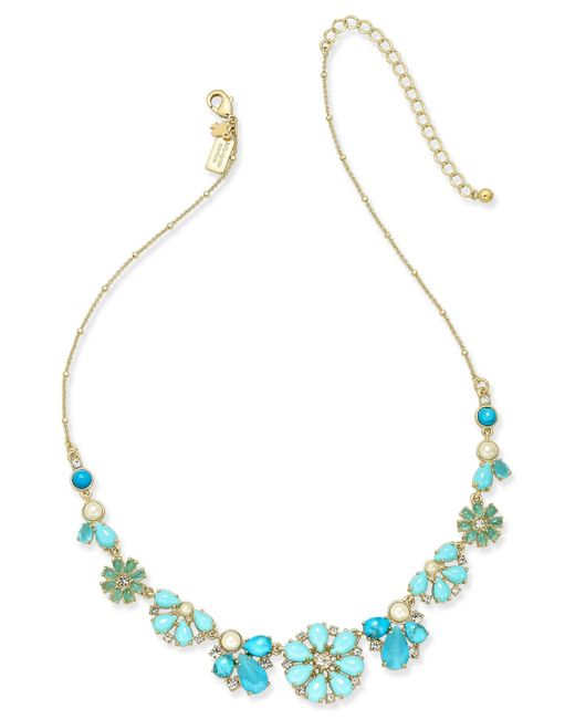 Kate Spade | Gold-tone Petite Blue Flower Collar Necklace | Lyst