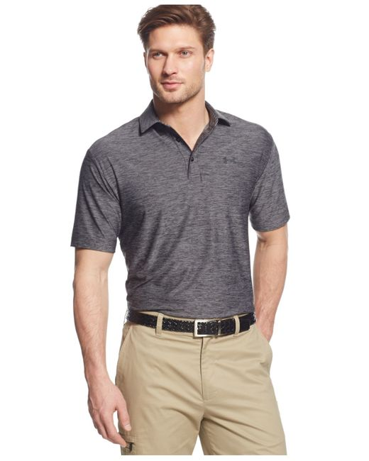 Under Armour | Black Playoff Striped Performance Polo for Men | Lyst