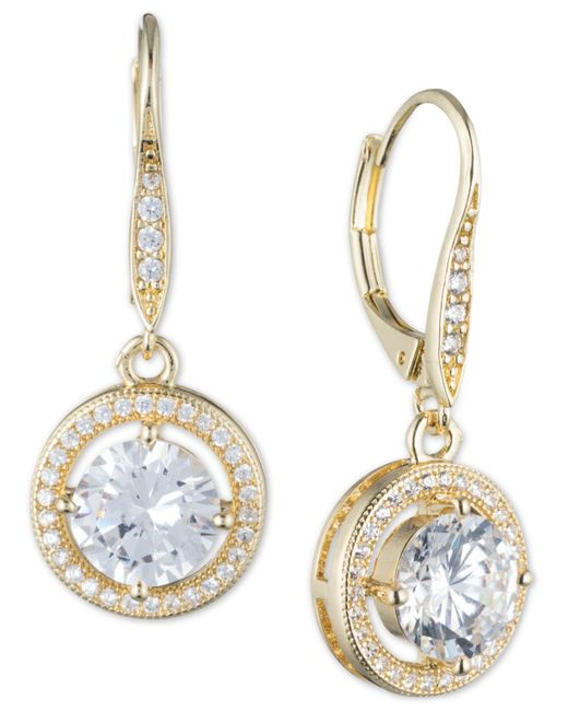 Anne Klein | Metallic Round Crystal And Pavé Drop Earrings | Lyst