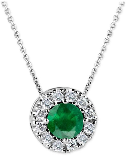 Macy's | Green Emerald (1/2 Ct. T.w.) And Diamond (1/6 Ct. T.w.) Halo Pendant Necklace In 14k White Gold | Lyst