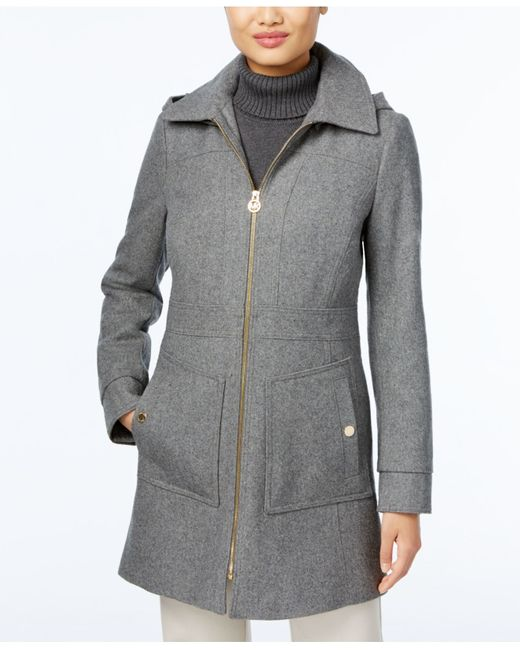 Michael Kors | Gray Hooded Wool-blend Coat | Lyst
