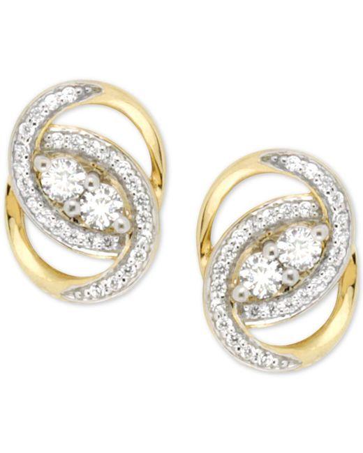 Wrapped in Love | Metallic Diamond Oval-link Earrings (1/2 Ct. T.w.) In 14k Gold | Lyst