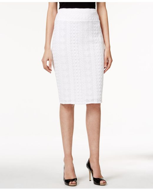 alfani lace pencil skirt only at macy s in white lyst