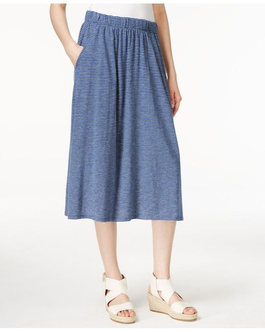 eileen fisher striped a line midi skirt in blue midnight