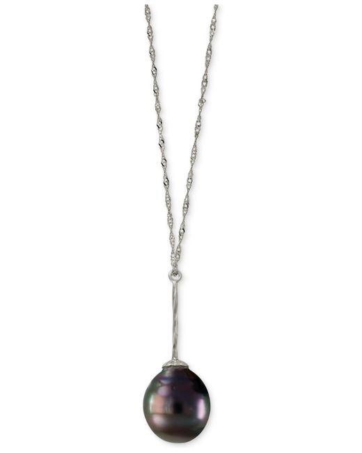 Effy Collection | Metallic Cultured Black Tahitian Pearl (11mm) Lariat Necklace In 14k White Gold | Lyst