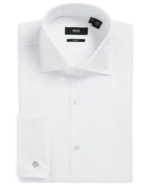 Boss boss slim fit french cuff dress shirt in white for White french cuff shirt slim fit
