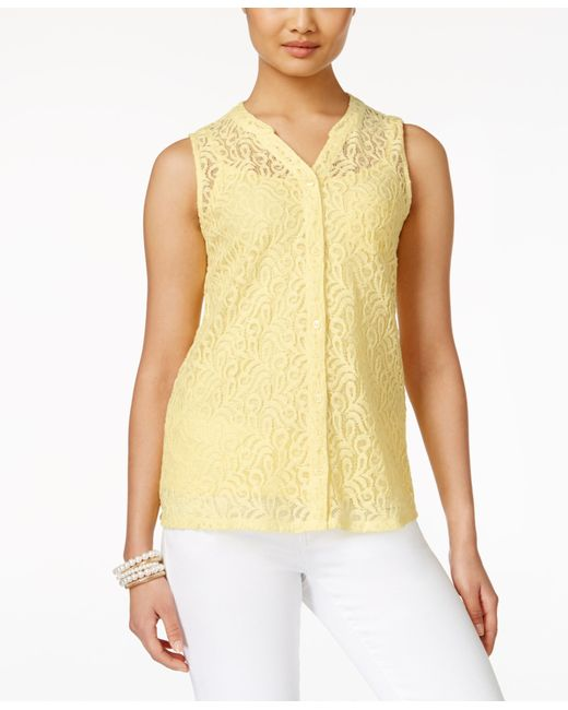 Macy S Yellow Blouse Long Sleeved Blouse