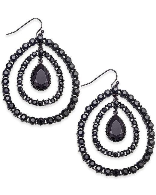 INC International Concepts | Black Hematite-tone Crystal Orbital Drop Earrings, Only At Macy's | Lyst
