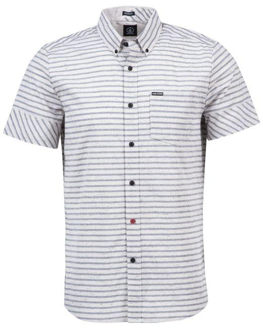 Volcom men 39 s melvin horizontal stripe short sleeve shirt for Horizontal striped dress shirts men