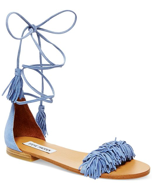 Steve Madden Women S Sweetyy Lace Up Flat Sandals In Blue
