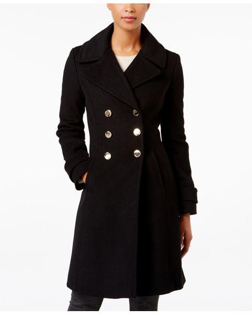 Ivanka Trump Double Breasted Wool Blend Coat In Black