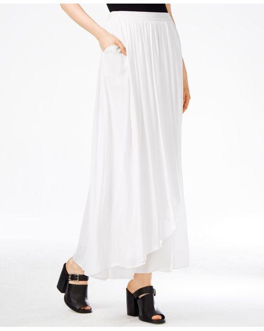 armani exchange cascade maxi skirt in white solid white
