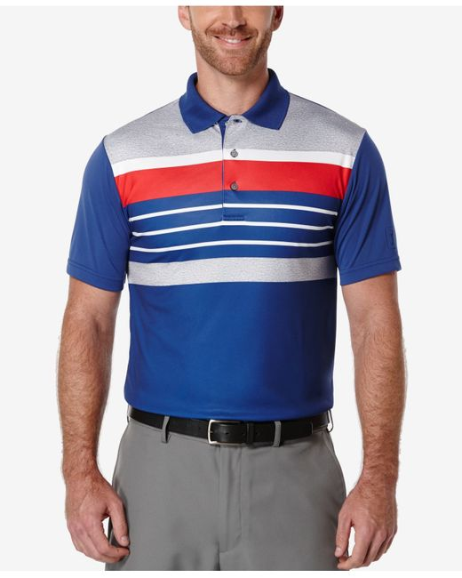 Pga tour men 39 s big tall heathered striped golf polo in for Large tall golf shirts