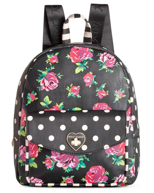 Betsey Johnson Medium Floral Backpack In Black Floral Lyst