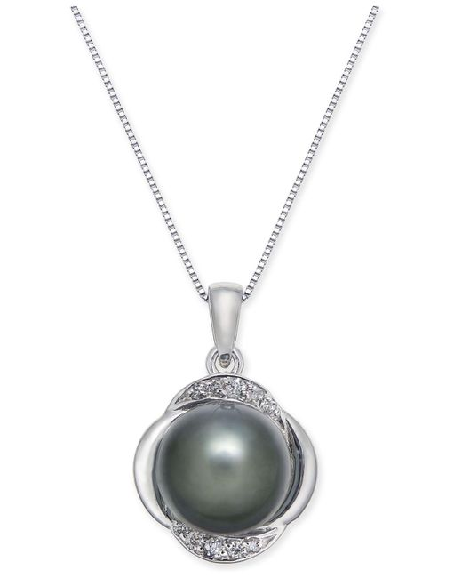 Macy's - Metallic Cultured Tahitian Pearl (9mm) & Diamond (1/10 Ct. T.w.) Pendant Necklace In 14k White Gold - Lyst
