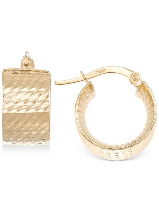 Macy's | Metallic Textured Chunky Hoop Earrings In 14k Gold | Lyst