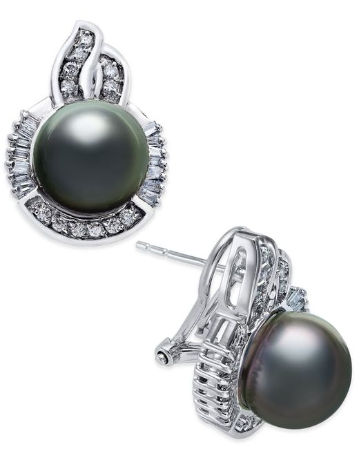 Macy's | Metallic Cultured Tahitian Pearl (10mm) And Diamond (5/8 Ct. T.w.) Stud Earrings In 14k White Gold | Lyst