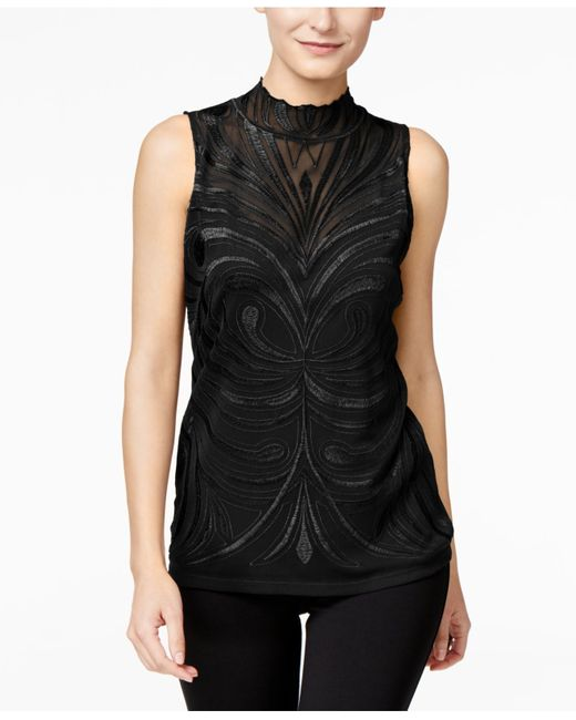 INC International Concepts | Black Embroidered Blouse, Only At Macy's | Lyst