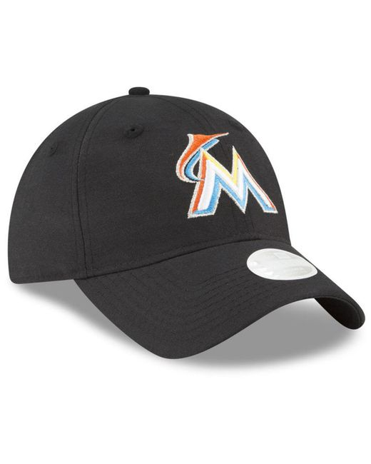 timeless design df523 3f814 ... france ktz black miami marlins team linen 9twenty strapback cap for men  lyst 372fc 77927