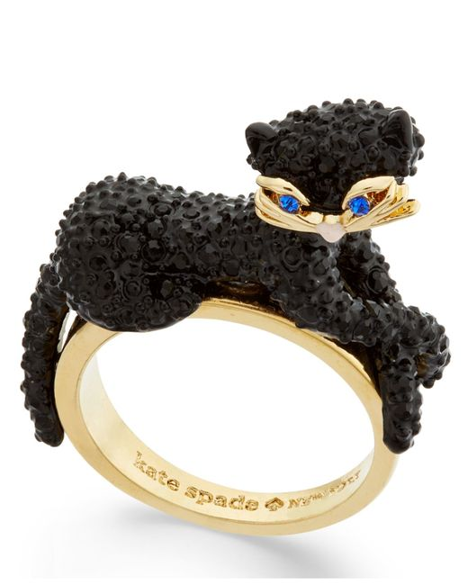 Kate Spade | Black Gold-tone Jet Pavé Three-dimensional Cat Statement Ring | Lyst