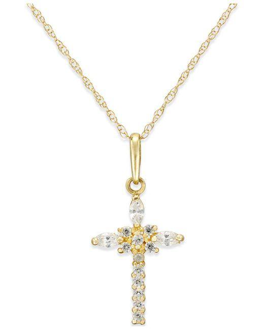 Macy's | Metallic Cubic Zirconia Cross Necklace In 10k Gold | Lyst