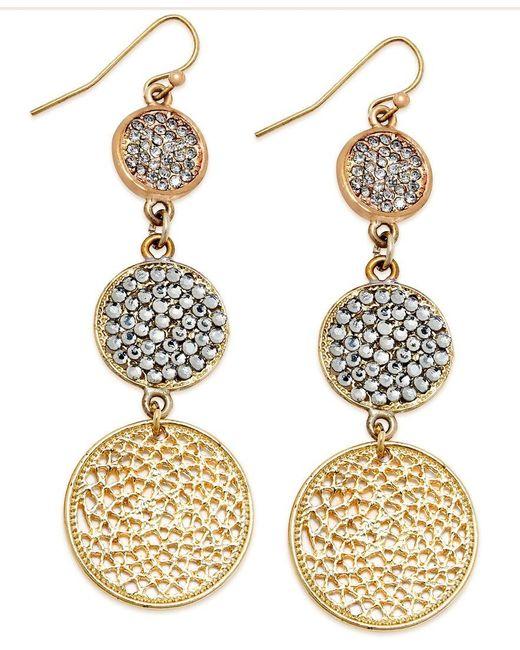 INC International Concepts | Metallic Gold-tone Triple Pave Disc Linear Drop Earrings | Lyst
